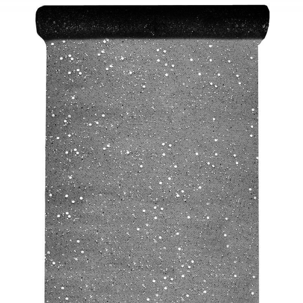 Christmas Black Glitter Table Runner 5m
